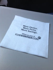 Napkin from Frontier Flight